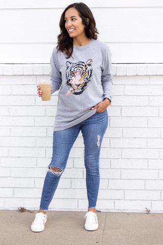 Tiger Bolt Tee (Small-XL) - Heather Gray