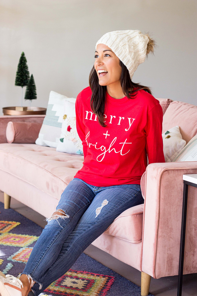 Merry & Bright Tee (Small-XL) - Red