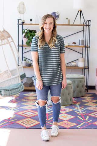 Kara Top - Heather Green Stripe