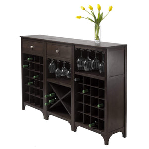Cappuccino Winsome Orleans Modular Buffet with Drawer /& 12-Bottle Wine Rack