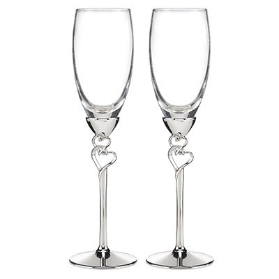 Entwined Hearts Toasting Flutes