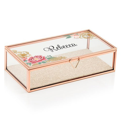 Personalized Glass Jewelry Box With Rose Gold - Modern Floral Printing