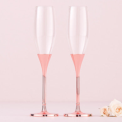 Toasting Flutes - Rose Gold Diamond Glitter