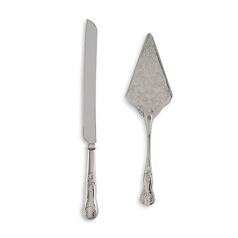Vintage Inspired Silver Cake Serving Set