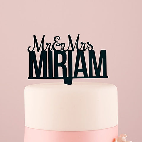 Personalized Mr. And Mrs. Acrylic Cake Topper - White or Black