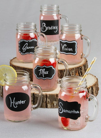 Chalkboard Stickers Mason Jars - Set of 12