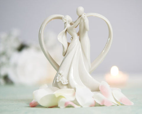 Stylized Bride and Groom with Heart Frame Figurine Cake Topper