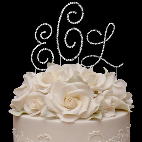 3 Pc. Crystal Renaissance Monogram Wedding Cake Topper