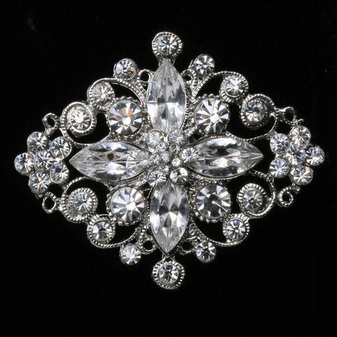 Antique Silver Brooch with Crystals and Rhinestones
