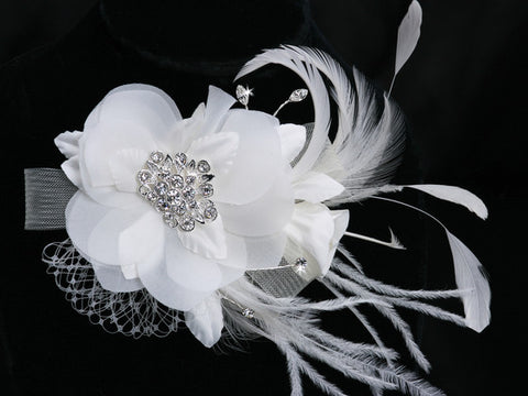 Swarovski Crystal, Rhinestones and Russian Veiling Hair Flower