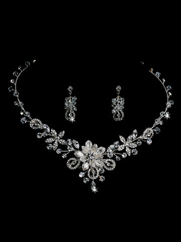 Silver Crystal Necklace & Earring Set