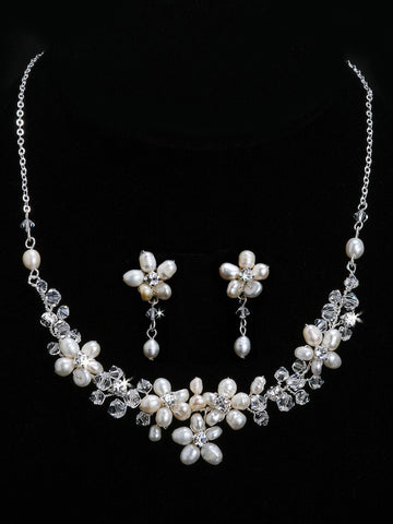 Swarovski Crystal, Mother of Pearl, and Rhinestone Necklace & Earring Set
