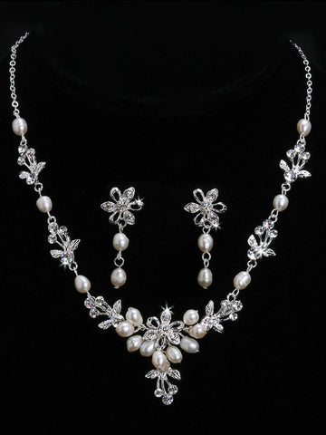 Pearls and Rhinestone Necklace & Earring Set