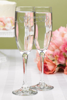 Linked Heart Bride & Groom Toasting Flutes
