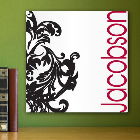 Fleur De Lis Black & Red Personalized Canvas Print