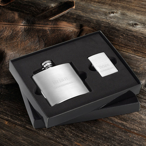 Brushed Flask and Zippo Lighter Gift Set