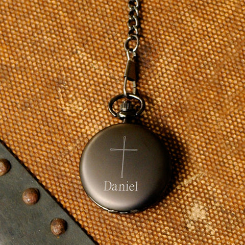 Inspirational Pocket Watch with Engraved Cross