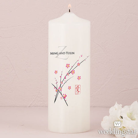 Cherry Blossom Personalized Pillar Candles - White or Ivory
