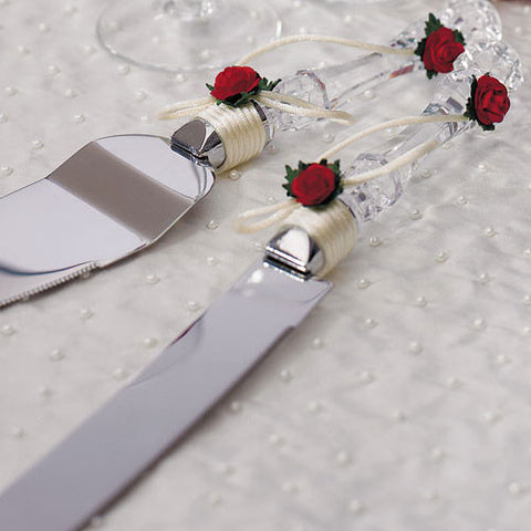 Flower of Love In Romantic Red Cake Serving Set