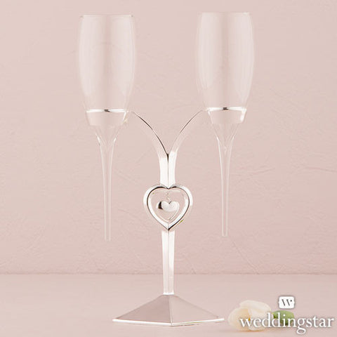 Clear Glass Flutes with Silver Plated Stand