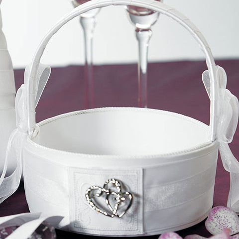 Classic Double Heart Flower Girl Basket - White and Ivory