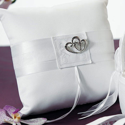 Classic Double Heart Square Ring Pillow - White or Ivory