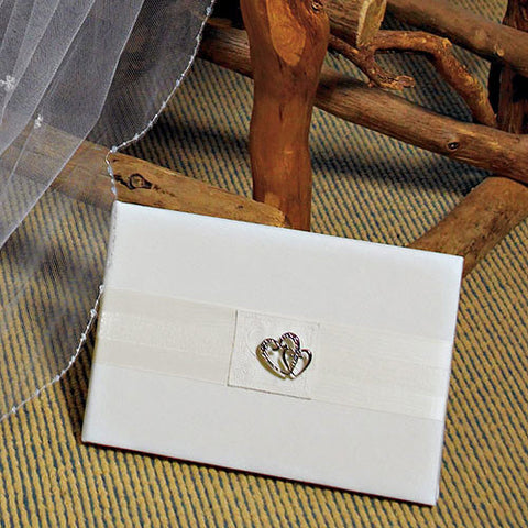 Classic Double Heart Traditional Guest Book - White and Ivory