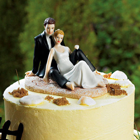 Romantic Wedding Couple Lounging on the Beach Figurine Cake Topper