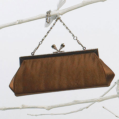 Satin Kiss Clasp Evening Bag - Espresso