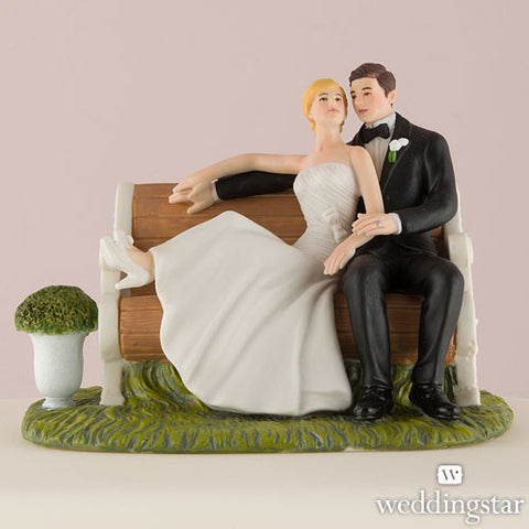 Sitting Pretty On A Park Bench Figurine Cake Topper