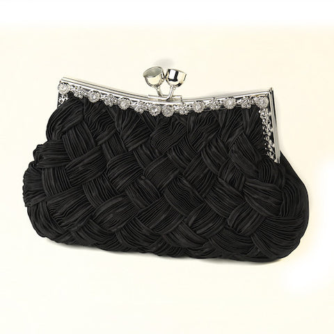 Satin Weave Evening Bag with Crystal Frame - Variety of Colors