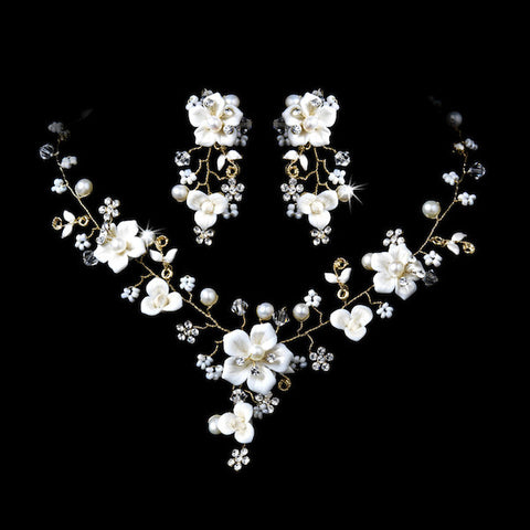 Beautiful Crystal, Porcelain & Pearl Bridal Jewelry Set - Silver or Gold