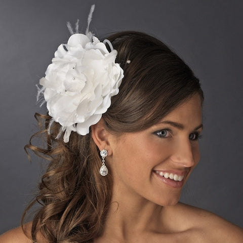 Bridal Flower Headpiece with Crystals & Feathers Clip - White or Ivory