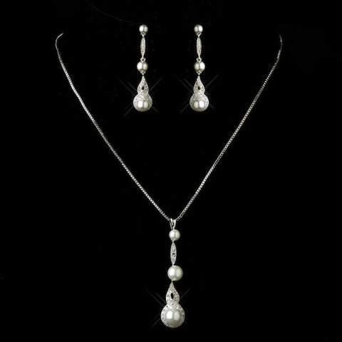 Antique Silver Diamond White Drop Pearl & Clear Rhinestone Bridal Jewelry Set