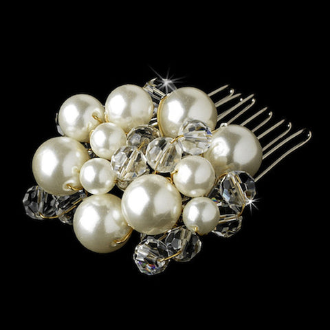 Clear Crystal & Pearl Hair Comb