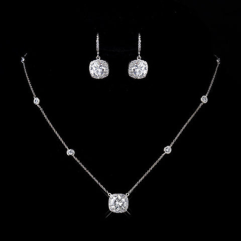 Antique Silver Clear Princess Cut CZ Necklace & Earrings
