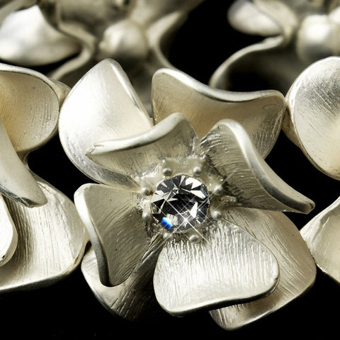 Clear Rhinestone & Brushed Ivory Flower Bridal Stretch Bracelet