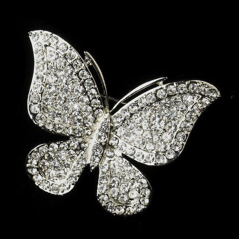 Antique Silver Clear Rhinestone Butterfly Bridal Brooch