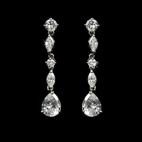 Antique Silver Clear Cubic Zirconia Earring