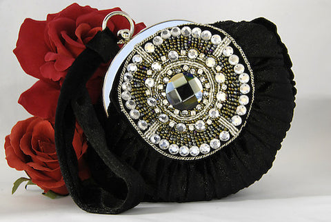 Black Velvet Velour Bridal Evening Bag