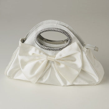 Satin Evening Bag with Rhinestone Accented Handles