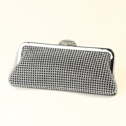 Silver Crystal Evening Bag with Silver Frame & Shoulder Strap