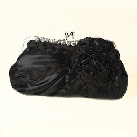Braided Ruffle Floral Rhinestone Evening Bag with Silver Frame & Shoulder Strap - Available in Black, Grey or Red