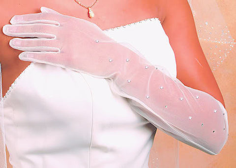 Sheer Rhinestone Bridal Glove