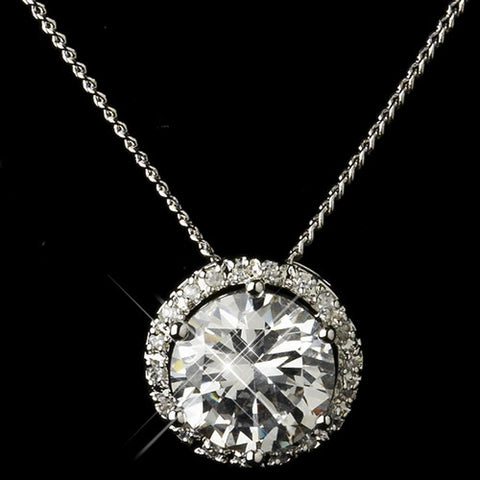 Antique Silver Clear Round CZ Crystal Necklace & Earrings Bridal Jewelry Set