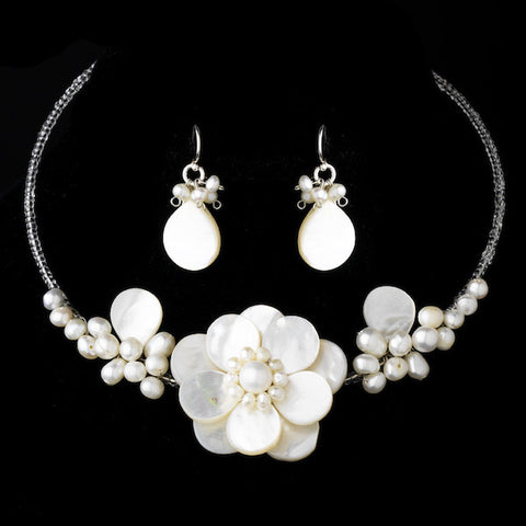 Elegant Freshwater Pearl, Beads & Shell Necklace & Earrings
