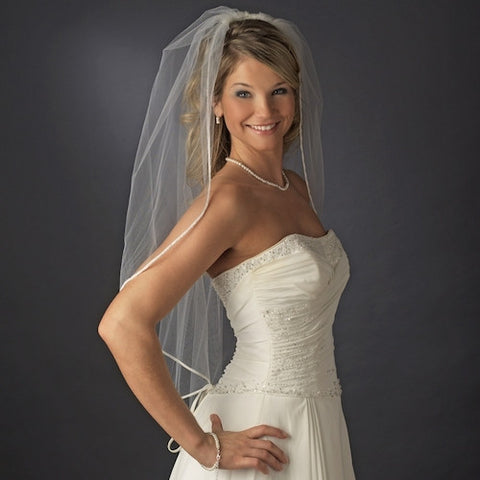 Bridal Wedding Single Layer Fingertip Length Veil
