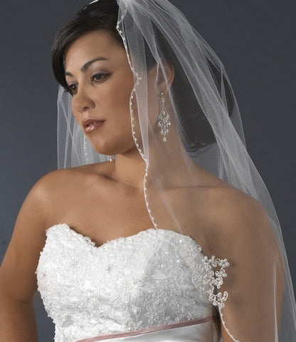 Bridal Veil - Single Layer Fingertip with Floral Embroidery Adornments
