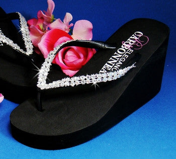 High Wedge Bridal Flip Flops with Crystal Accents