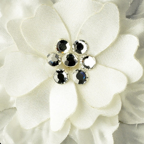Clear Crystal Flower Accents on Delphinium Flower Bobby Hair Pin (Set of 2)